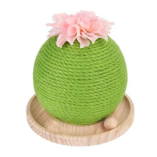 BingoPaw Griffoir Chat Sisal, Grattoir Cactus avec Jouet Interactif pour Chat, Arbre à Chat avec Une Base en Bois pour Félins Chatons, 25x25x24cm