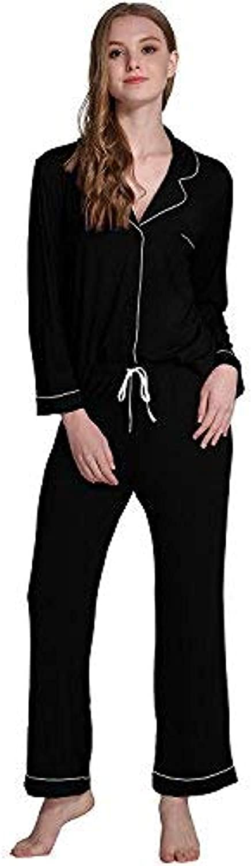Iooho Women's Long Sleeve Buttonup Pajama Set Soft Loungewear Sets for Women
