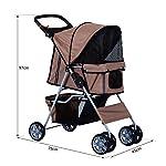 PawHut Pet Stroller Cat Dog Basket Zipper Entry Fold Cup Holder Carrier Cart Wheels Travel Brown 14