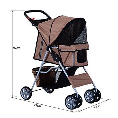 PawHut Pet Stroller Cat Dog Basket Zipper Entry Fold Cup Holder Carrier Cart Wheels Travel Brown 5