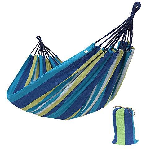 Hängematte Outdoor Baumwolle Mehrpersonen doppelte Breite 1/2 Person brasilianische Hängematte Für Draußen Drinnen Garten Reisen Camping Hängematte (Single/260 * 80/Blue)