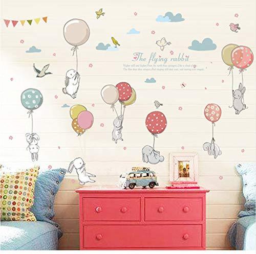 EyingEr Cartoon Diy Super Cute Balloon Rabbit Wall Sticker For Kids Room Birds Cloud Decor Furniture Wardrobe Bedroom Living Room Decal50*70Cm
