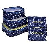 Organizador Maleta Packing Cubes, Coolzon Organizador Equipaje de Viaje Impermeable Cubos Embalaje Bolsa de Zapato, 6 Set, Punto