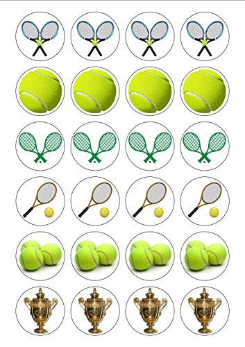 24 PRE CUT Wimbledon Tennis Edible Wafer Paper Cake Toppers Decorations by Top That