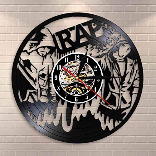 LIMN Reloj de Pared 90s Rap Wall Art Reloj de Pared Hip Hop Reloj de Pared de Vinilo Vintage Reloj de Pared de Estudio de música Decoración de habitación Musical Show en Vivo Regalo de raperos