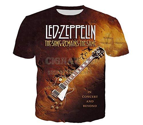 Led Zeppelin T-Shirt College Style Kurzarm-T-Shirt Top Wilde Loser Trend Halb Sleeved T-Shirt Art und Weise Baumwolle Rundhalsausschnitt beiläufiges dünnes T-Shirt Unisex