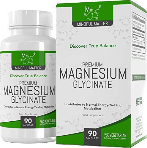 Glicinato de Magnesio Capsulas de ALTA RESISTENCIA 250mg, 90 Capsulas Veganas de Mindful Matter | Magnesio de Alta Absorción | Para la Salud Cognitiva y los Calambres Musculares: Sin OGM o Gluten