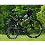Mountain bike pieghevole elettrica 21 velocità 48V15AH altoparlante pieghevole elettrico per scooter elettrico integrato fari a LED velocità massima 25 km / h (24 pollici / 26 pollici),Verde,26inches