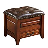 FSYGZJ Upholstered Wooden Sofa Stool Ottoman,Vintage Button Tufted Soft Seat Storage Ottoman Footstool Stool Seay Bench-a 42x35x39cm(17x14x15in)