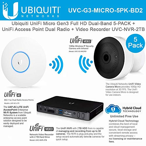 Great Features Of UniFi Access Point UAP-AC-LITE Dual Radio and UniFi Camera UVC-G3-MICRO 5Pack 1080...
