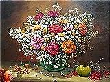 Peinture par numéros Kit de peinture à l'huile de bricolage pour adultes enfants débutant - Dessin de bouquet de fleurs artificielles avec brosses décor de Noël décorations cadeaux 40x50cm(avec cadre)