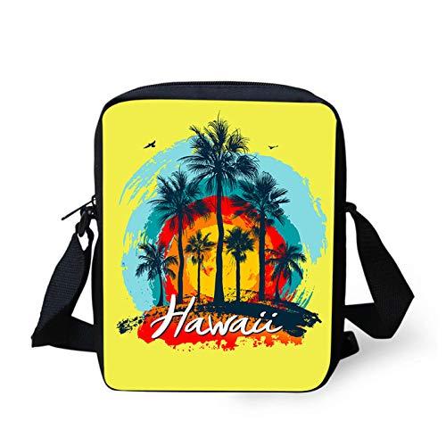 HUGS IDEA Hawaii Damen Kleine Umhängetasche – Splash Sunset Coco Tree Tropical Art Gelb Mini Schultertasche Crossbody Bag Damen Mini Handtasche