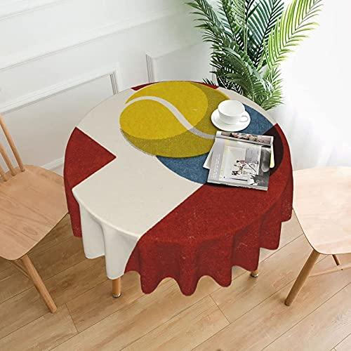Mantel - Mesa Redonda de poliéster Lavable de 60 'Cubierta de Mesa Decorativa Pelotas Tenis Cancha de Arcilla
