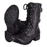 Lucky Top Soda Pack72 Dome Girls Faux Leather Combat Boots,Black Dome,3