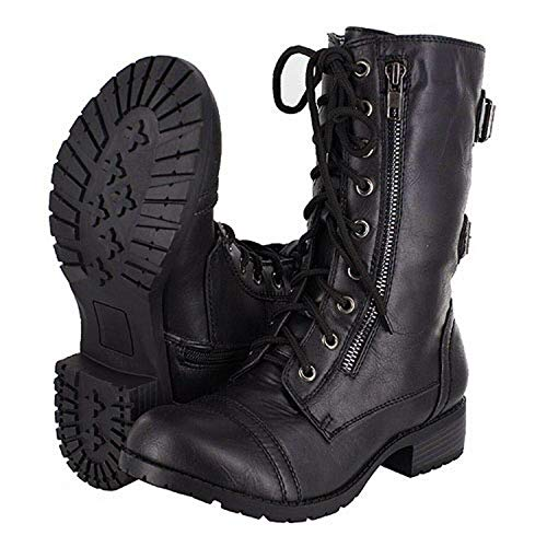 Lucky Top Soda Pack72 Dome Girls Faux Leather Combat Boots,Black Dome,1