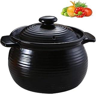 APcjerp Pote de cocinar de cerámica, Hecha a Mano de la cazuela 100% Libre de Plomo Seguro for cocinar y estofado cazuela Olla de cocción Lenta, 1.5L Negro Hslywan