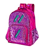 Sequin Backpack for Girls Kids Cute Elementary School Book Bag Teen Glitter Flip Sparkly Holographic Back Pack Orchid