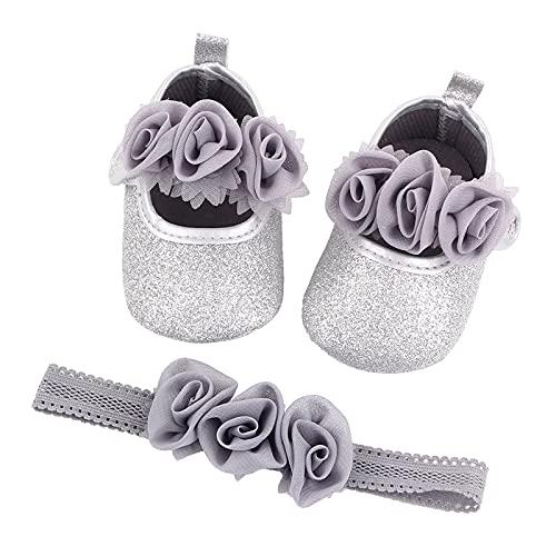 Zapatos de bebé para niña, suela suave, antideslizante, zapatos de flores con purpurina, zapatos de princesa con diadema