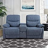 B BAIJIAWEI Modern Double Loveseat Recliner Fabric Reclining Loveseat Couch Sofa with Drawer and Cup Holder Manual Home Theater Seating for Living Room, Office (C: Fabric - Blue)