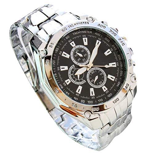 Abstand Armbanduhr FGHYH Männer Cuena Casual Uhren Männer Sport Armbanduhr Quarz Aus Rostfreien Stahl Band Uhr Watch Armbanduhr(Schwarz)