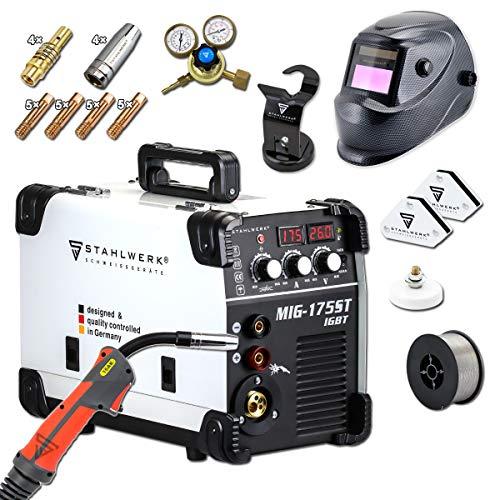 STAHLWERK MIG 175 ST IGBT- Vollausstattung - MIG MAG Schutzgas Schweißgerät mit 175 Ampere, FLUX Fülldraht geeignet, mit MMA E-Hand, weiß, 7 Jahre Garantie