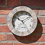 HomeZone Large Vintage Retro Style Home/Garden Indoor/Outdoor Wall Clock Decorative Fence Ornament Thermometer Barometer Mountable Weatherproof Weather Station Thermometer Hygrometer