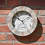 HomeZone® Large Vintage Retro Style Home/Garden Indoor/Outdoor Wall Clock Decorative Fence Ornament Thermometer