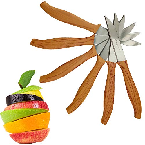 Stylish Fruit Paring Knives - Knife Set of 6 - Small Kitchen Knife Fruit Vegetable Tomato Knife 27 Inch Utility Small Straight Edge Spear Point - Wooden Look Handle - Boxed Best Gift Idea