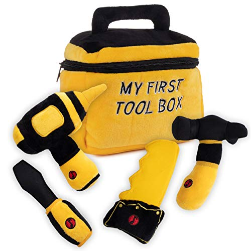 Toy Tool Set for Toddlers | Includes Cuddly Hammer, Handsaw, Screwdriver, Hand Drill, & Zippered Tool Box with Cool Sounds | Soft Plush Toys Made from Durable & Hypoallergenic Fabric