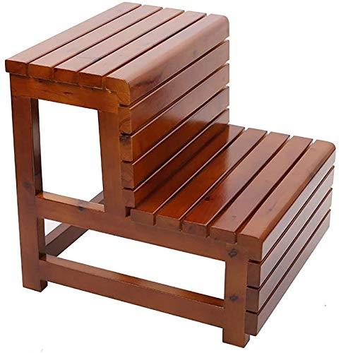 DAGCOT Klappbare Stufenleiter Stuhl Trittschemel Trittschemel Badhocker Massivholz-Double-Layer-Step-Bank-Leiter-Badebottich Fußpedal, wasserdicht Korrosionsschutz Griffige, B (Color : B)