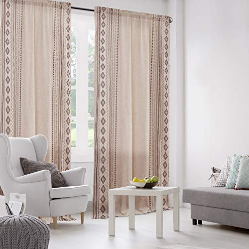 """Dreaming Casa Beige Linen Textured Curtains, Embroidered Geometry Lattice Window Treatment for Bedroom, Bohemian Style Rod Pocket Window Drapes for Dining Room, Set of 2 Panels 52"""" W x 84"""" L"""