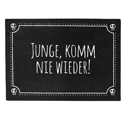 """Pechkeks Fußmatte mit Spruch """"Junge komm nie Wieder """" (Größe 70x50cm rutschfest, waschbar, schwarz), 70x50"""
