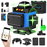 Green Beam Laser Level, Seesii 4x360°4D Green Cross Line Self-leveling Line Laser, 16 Lines Laser Level with 2 Rechargeable Batteries, Remote & APP Control, Magnetic Rotating Stand & Toolbox Included