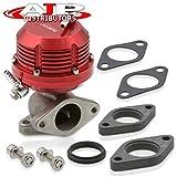 AJP Distributors Universal Red Wastegate External 35mm 38mm Exhaust Turbo Manifold 2 Bolt Flange Mount Jdm Sport Aluminum Horizontal Rib Adjustable Performance Upgrade Replacement