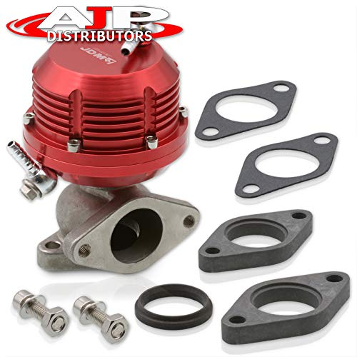 AJP Distributors Universal Red Wastegate External 35mm 38mm Exhaust Turbo Manifold 2 Bolt Flange Mount Jdm Sport Aluminum Horizontal Rib Adjustable Performance Upgrade Replacement