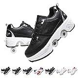 Hmlopx Parkour - Patines de deformación unisex invisibles, cuatro rondas de zapatillas de correr para deportes al aire libre para niñas y niños, color negro y blanco, 40