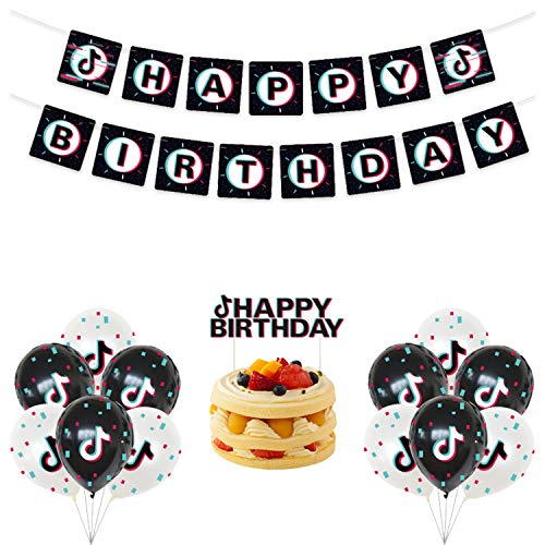 Decoraciones para fiestas TIK Tok, suministros para fiestas de cumpleaños Tik Tok - TIK Tok Birthday Cake Topper y TIK Tok Birthday Banner for Girl's Music Karaoke Themed Party Supplies