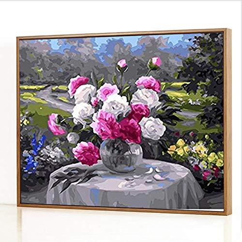 GJJHR DIY Malen nach Zahlen-Ölgemälde Geschenk für Erwachsene Kinder Anfänger Leinwand Ölgemälde Set-Blumenstrauß Gemälde - 40x50cm(Holzrahmen)