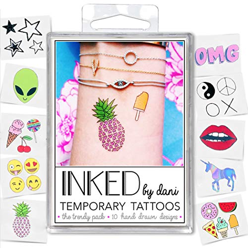 INKED by Dani Temporary Tattoo Designs - Trendy Pack. Realistic, Hand Drawn Body Art