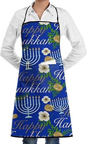 QIANKUI Hanukkah Candle Chanukah Cooking Aprons Kitchen Bib Apron with Pockets
