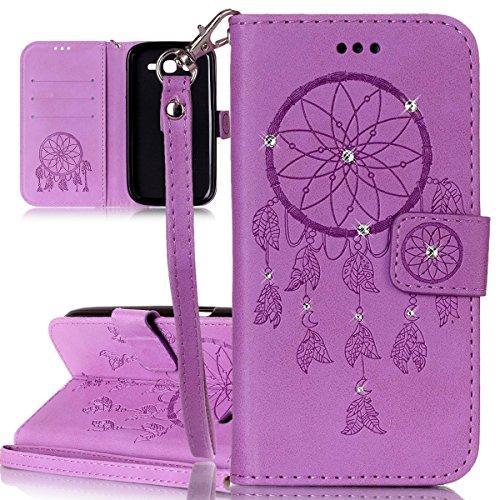 ISAKEN Custodia Cover per Samsung Galaxy Grand Neo I9060 con Strap, Inlaid Bling Diamante Cover in PU Pelle Flip Portafoglio Wallet Caso con Supporto di Stand/Carte Slot - Dreamcatcher:Viola