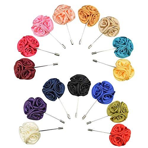 Soleebee YM009 Ansteckblumen Gemischt zufällig Herren Handgefertigt Revers Pin Blume Set im Knopfloch Schläger Revers Krawatte Brosche Seide Blume Boutonniere für Anzug Hochzeit Partei (15 Stück)