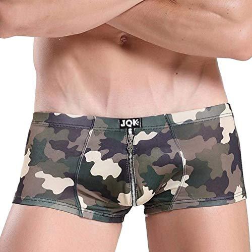 HaiDean Herren Classic Zipper Retroshorts Camouflage Boxershorts Modernas Lässig Bequem Weiches Basic Unterhosen Panty Unterwäsche (Color : Grün, Size : L)