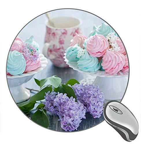 Süßes Essen Baiser Dessert Creme Blumen Runde Desktop Mauspad Gaming Gummi Mauspad