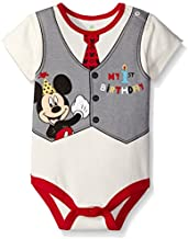 Disney Baby-Boys Mickey My First Birthday Creeper, Off White, 18 Months