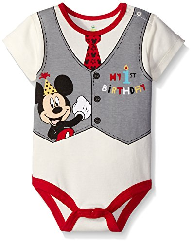 Disney Baby-Boys Mickey My First Birthday Creeper  Off White  18 Months