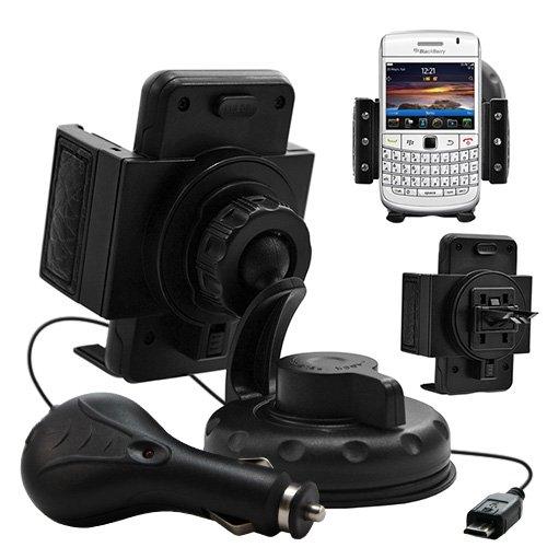 Seluxion–Soporte Universal Auto diamante con ventosa + cargador de coche para Blackberry Bold 9780