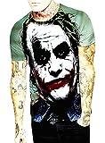T-shirt à manches courtes pour homme Joker 3D Dark Knight - T-shirt amusant - Déguisement - Masque - Garçon - Multicolore - Halloween - Idée cadeau originale - Multicolore - 3XL