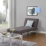 Contemporary Chrome Reclining Grey Linen Chaise Lounger