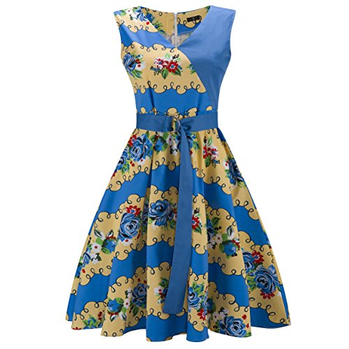 ZAMME Vrouwen Retro Vintage 1950 jaren 60 Floral Swing zomerjurken